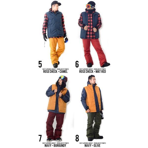 スノーボードウェア 上下 セット メンズ ベスト付き ジャケット 3Way 取外し可能 Vest Jacket スノーウエア ウエア  SNOWBOARD  上下組 2点セット|elephantsports|04