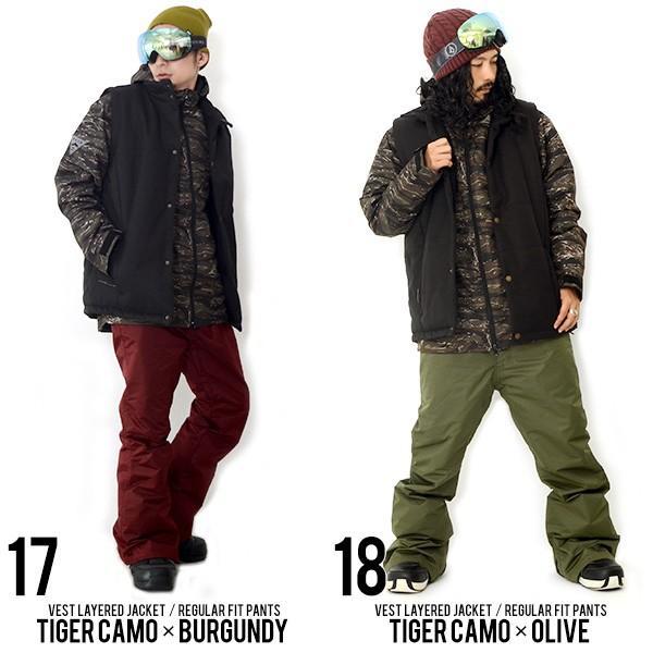 スノーボードウェア 上下 セット メンズ ベスト付き ジャケット 3Way 取外し可能 Vest Jacket スノーウエア ウエア  SNOWBOARD  上下組 2点セット|elephantsports|07