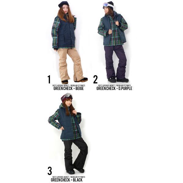 スノーボードウエア 上下 セット レディース ベスト付き 3Way 取外し可能 Vest Jacket ジャケット パンツ スノー  SNOWBOARD  上下組 婦人|elephantsports|02