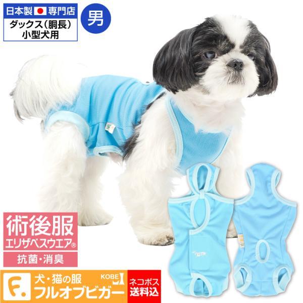 【送料込】エリザベスカラーの代わりになる 獣医師推奨 犬用術後服エリザベスウエアR 男の子 雄 ダックス 小型犬用 【ネコポス値2】|elizabethwear