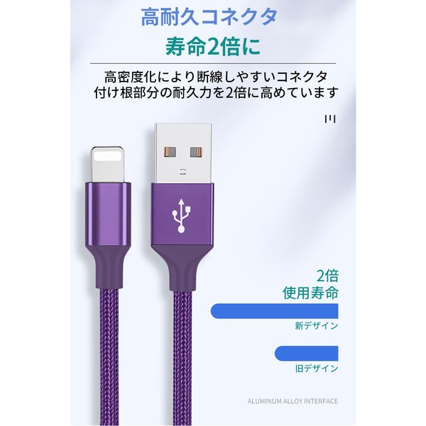 iPhone ケーブル 充電ケーブル 充電器 USBケーブル 高耐久 ナイロン編み 同期 iOS13 高速充電 iPhoneX 8 iPad アイフォン アイホン 1m 90日保証 全7色|elukshop|04