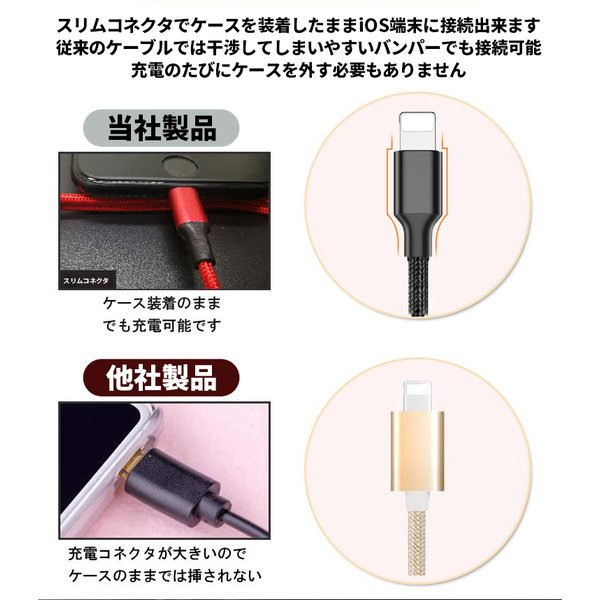 iPhone ケーブル 充電ケーブル 充電器 USBケーブル 高耐久 ナイロン編み 同期 iOS13 高速充電 iPhoneX 8 iPad アイフォン アイホン 1m 90日保証 全7色|elukshop|07
