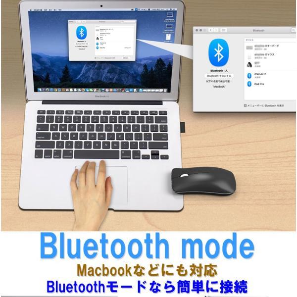 ワイヤレスマウス  マウス Bluetooth 4.0 無線 2.4GHz 両対応 静音 おしゃれ 1600DPI 充電式 電池交換不要 超小型 軽量 光学式 Macbook surface Pro T1 elukshop 11