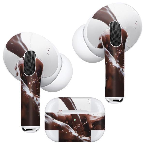 Air Pods Pro 専用 デザインスキンシール 対応 airpodspro エアポッドプロ apple アップル イヤフォン イヤホン  チョコレート  000888