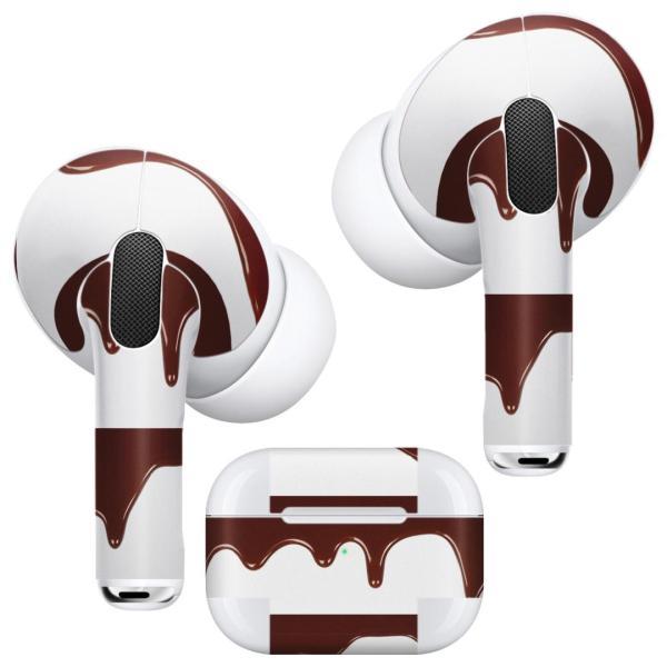 Air Pods Pro 専用 デザインスキンシール 対応 airpodspro エアポッドプロ apple アップル イヤフォン イヤホン  チョコレート 001006