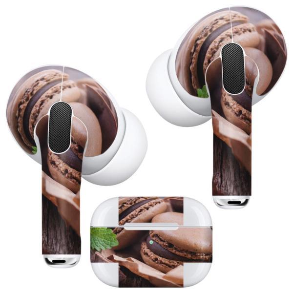 Air Pods Pro 専用 デザインスキンシール 対応 airpodspro エアポッドプロ apple アップル イヤフォン イヤホン  マカロン チョコレート 001014