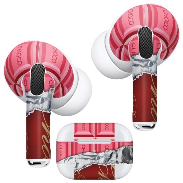 Air Pods Pro 専用 デザインスキンシール 対応 airpodspro エアポッドプロ apple アップル イヤフォン イヤホン  チョコレート ピンク 002444