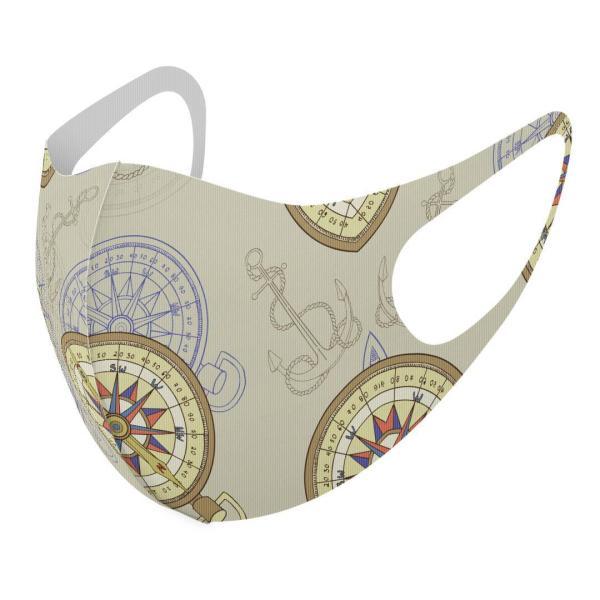 マスク 2枚セット デザイン 洗える ポリエステル メンズ レディース 男性 女性 こども ジュニア 幼児 未就学児 方角 東西南北 コンパス 011315