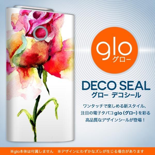 glo グロー 専用スキンシール カバー ケース 保護 フィルム ステッカー デコ アクセサリー 電子たばこ 花 フラワー 水彩 赤 ピンク 008097