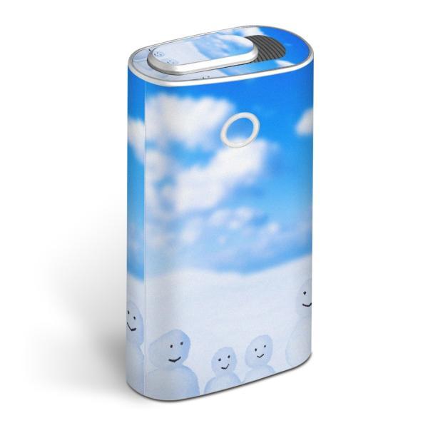 glo グロー グロウ 専用スキンシール 全面 + 天面 + 底面 360°フルセット  写真 空 雪だるま 005839