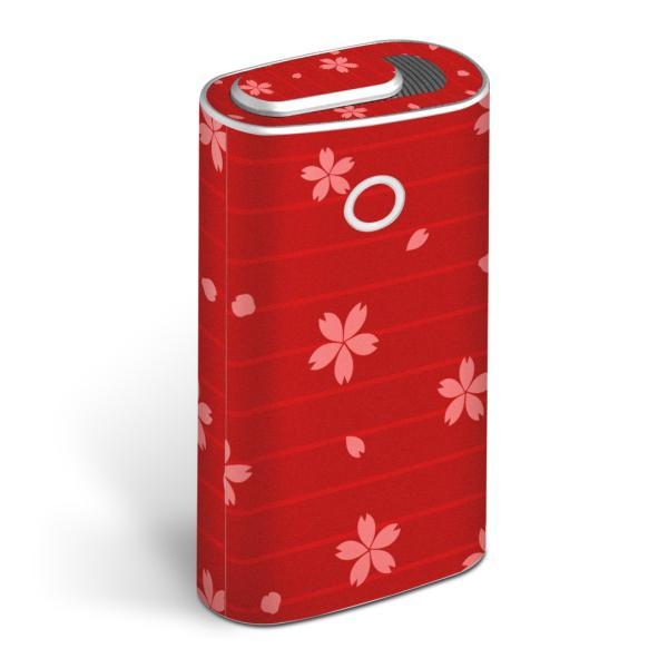 glo グロー グロウ 専用スキンシール 全面 + 天面 + 底面 360°フルセット  花 フラワー 赤 レッド 008712