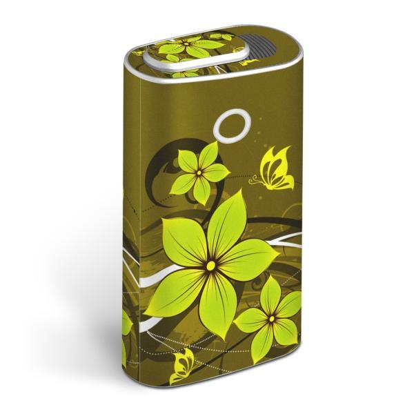 glo グロー グロウ 専用スキンシール 全面 + 天面 + 底面 360°フルセット  グリーン 花 フラワー 緑 008946