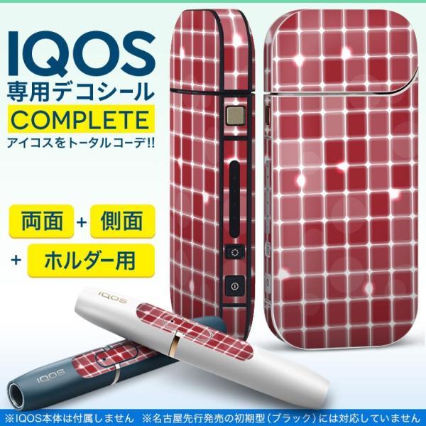iQOS アイコス 専用スキンシール 裏表2枚 側面 ホルダー フルセット 両面 サイド ボタン タイル 赤 000519