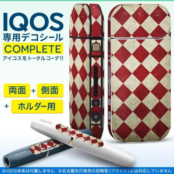 iQOS アイコス 専用スキンシール 裏表2枚 側面 ホルダー フルセット 両面 サイド ボタン ビンテージ 赤 白 005132