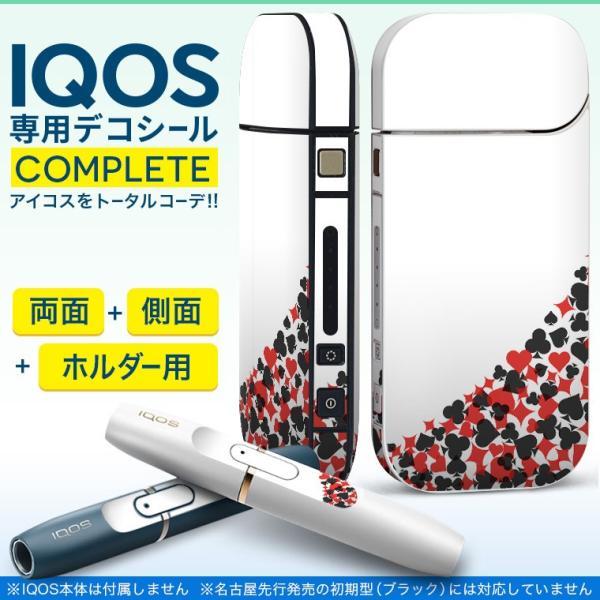 iQOS アイコス 専用スキンシール 裏表2枚 側面 ホルダー フルセット 両面 サイド ボタン 赤 レッド 黒 ブラック トランプ 007820