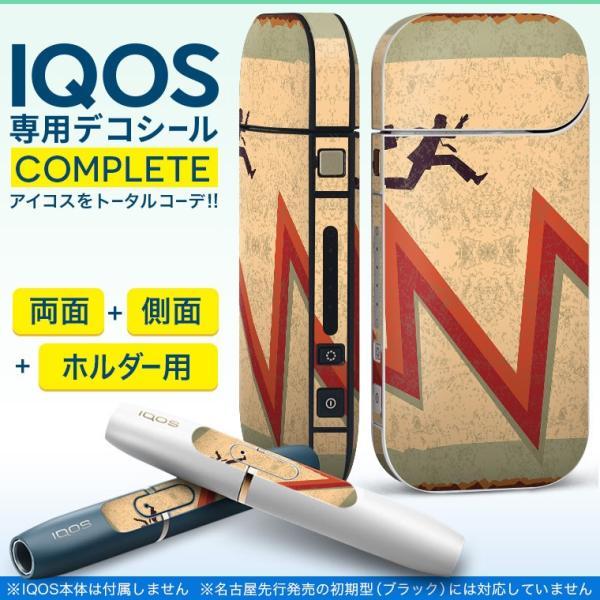 iQOS アイコス 専用スキンシール 裏表2枚 側面 ホルダー フルセット 両面 サイド ボタン 矢印 赤 レッド 人物 008542