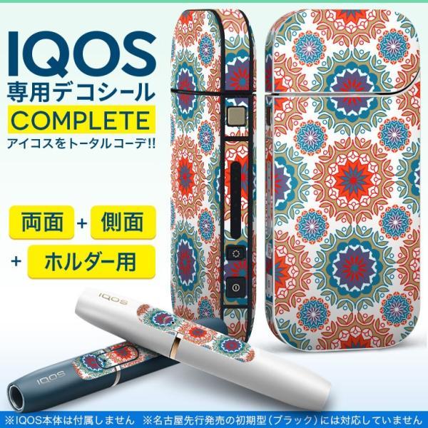 iQOS アイコス 専用スキンシール 裏表2枚 側面 ホルダー フルセット 両面 サイド ボタン 模様 赤 青 011914