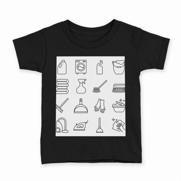 tシャツ キッズ 半袖 黒地 ブラック デザイン 90 100 110 120 130 140 150 Tシャツ ティーシャツ T shirt 家事 掃除 洗濯 015552