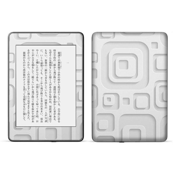 kindle paperwhite 第4世代専用 kindle第10世代 キンドル ペーパーホワイト タブレット スキンシール 裏表2枚  模様 白 ホワイト 四角 007497