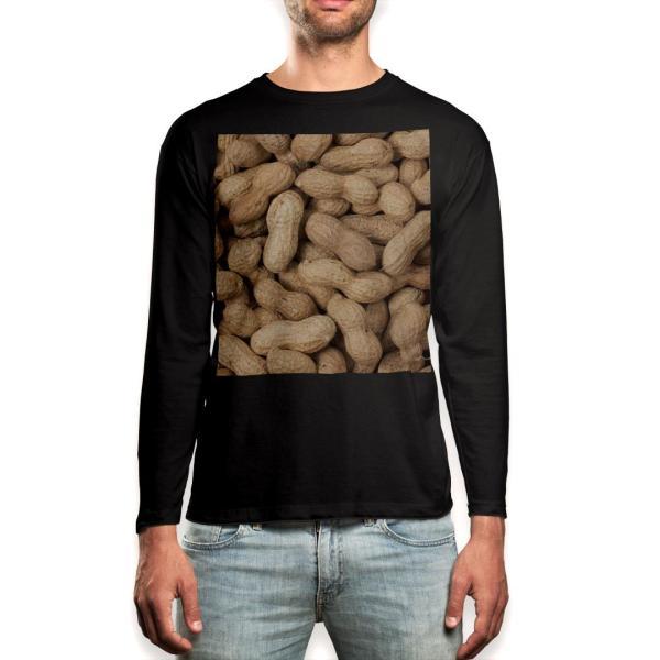 ロング Tシャツ メンズ 長袖 ブラック デザイン XS S M L XL 2XL ロンT ティーシャツ 黒 black T shirt long sleeve  ピーナツ 落花生 食べ物 000276