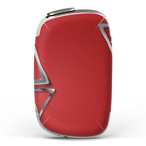 igsticker PloomS 専用 プルームテック ploom tech S デザインスキンシール カバー ケース 保護 フィルム 赤 レッド 三角 模様 008498