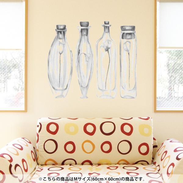 ウォールステッカー 飾り 60×60cm シール式 装飾 おしゃれ 壁紙 はがせる 剥がせる カッティングシート wall sticke  瓶 花 モノクロ 014526