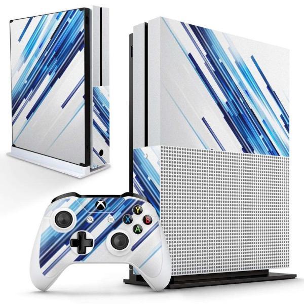 「宅配便専用」igsticker Xbox One S 専用 デザインスキンシール エックスボックス 本体裏表用 コントローラー用  シンプル 青 白 003326