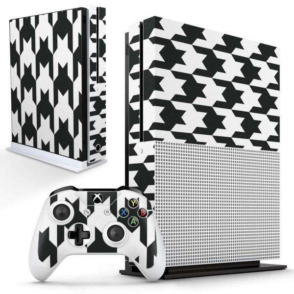 「宅配便専用」igsticker Xbox One S 専用 デザインスキンシール エックスボックス 本体裏表用 コントローラー用  千鳥柄 白 黒 003808