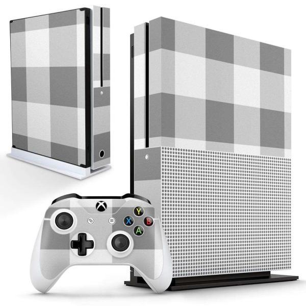 「宅配便専用」igsticker Xbox One S 専用 デザインスキンシール エックスボックス 本体裏表用 コントローラー用  チェック 白 グレー 004228