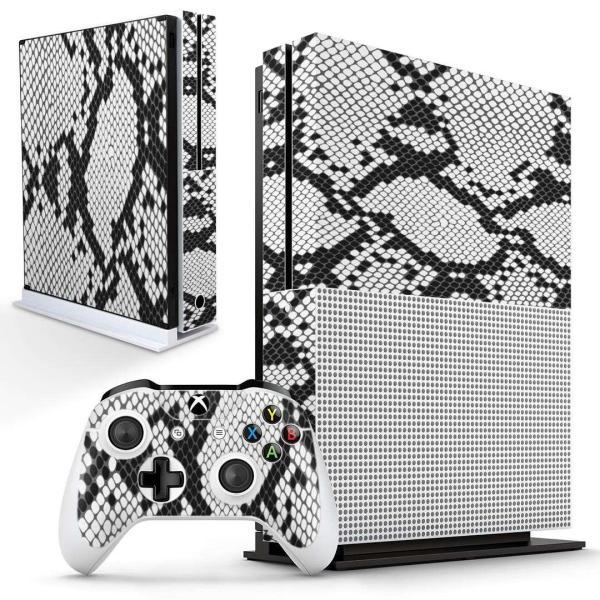 「宅配便専用」igsticker Xbox One S 専用 デザインスキンシール エックスボックス 本体裏表用 コントローラー用  ヘビ柄 模様 白 黒 004476