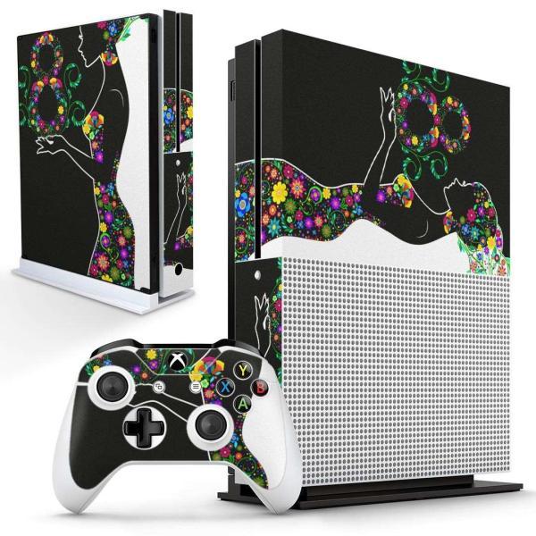 「宅配便専用」igsticker Xbox One S 専用 デザインスキンシール エックスボックス 本体裏表用 コントローラー用  花 フラワー 白 黒 005144