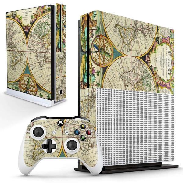 「宅配便専用」igsticker Xbox One S 専用 デザインスキンシール エックスボックス 本体裏表用 コントローラー用  世界 地図 006040