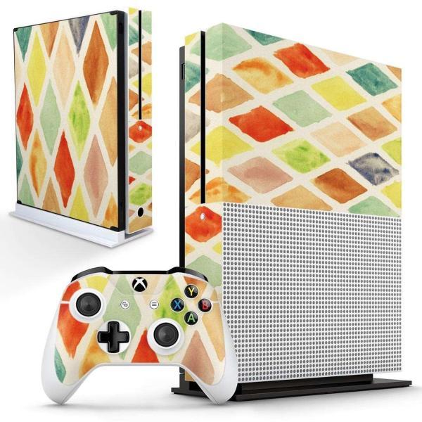 「宅配便専用」igsticker Xbox One S 専用 デザインスキンシール エックスボックス 本体裏表用 コントローラー用  カラフル 模様 アーガイル 006866