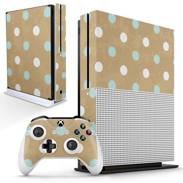 「宅配便専用」igsticker Xbox One S 専用 デザインスキンシール エックスボックス 本体裏表用 コントローラー用  水玉 水色 白 ホワイト 007417