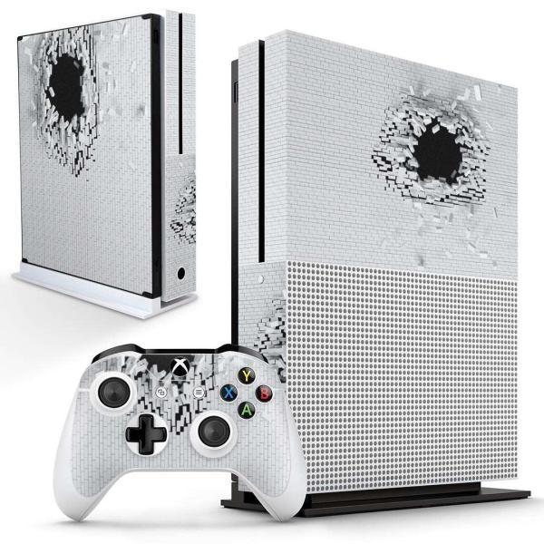 「宅配便専用」igsticker Xbox One S 専用 デザインスキンシール エックスボックス 本体裏表用 コントローラー用  レンガ 白 ホワイト 写真 008663