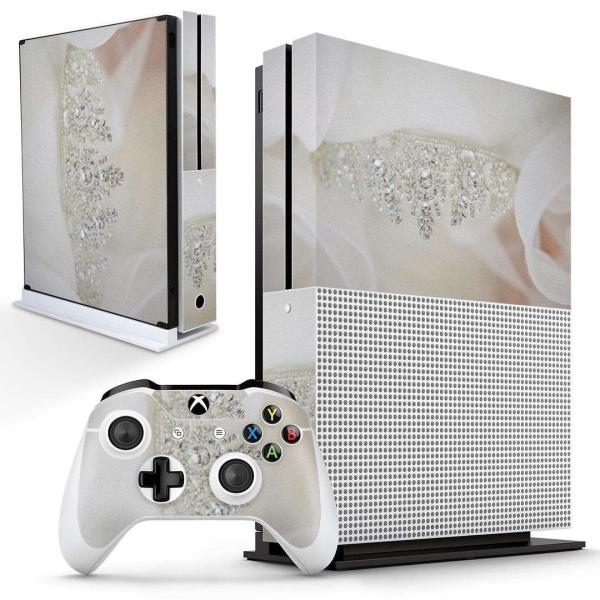 「宅配便専用」igsticker Xbox One S 専用 デザインスキンシール エックスボックス 本体裏表用 コントローラー用  写真 ティアラ ダイヤ 白 ホワイト 008863