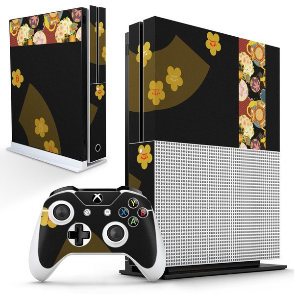 「宅配便専用」igsticker Xbox One S 専用 デザインスキンシール エックスボックス 本体裏表用 コントローラー用  和柄 花 フラワー 014069