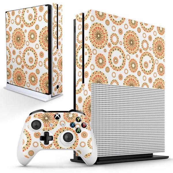 「宅配便専用」igsticker Xbox One S 専用 デザインスキンシール エックスボックス 本体裏表用 コントローラー用  模様 おしゃれ オレンジ 014419