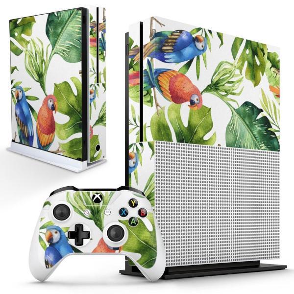 「宅配便専用」igsticker Xbox One S 専用 デザインスキンシール エックスボックス 本体裏表用 コントローラー用  リーフ ボタニカル インコ 014723