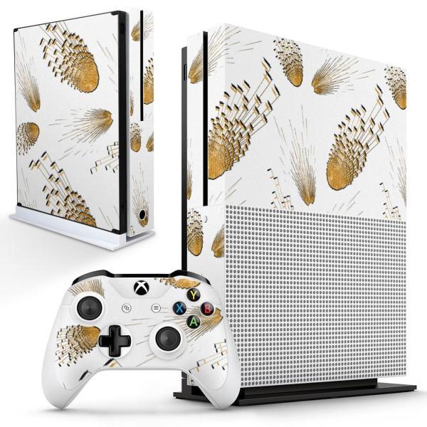 「宅配便専用」igsticker Xbox One S 専用 デザインスキンシール エックスボックス 本体裏表用 コントローラー用  模様 羽 白 014853