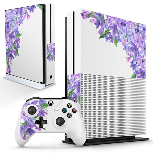 「宅配便専用」igsticker Xbox One S 専用 デザインスキンシール エックスボックス 本体裏表用 コントローラー用  花 紫 綺麗 014854