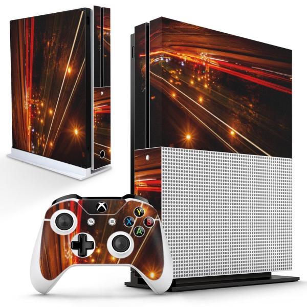 「宅配便専用」igsticker Xbox One S 専用 デザインスキンシール エックスボックス 本体裏表用 コントローラー用  景色 夜景 風景 写真 道路 014993