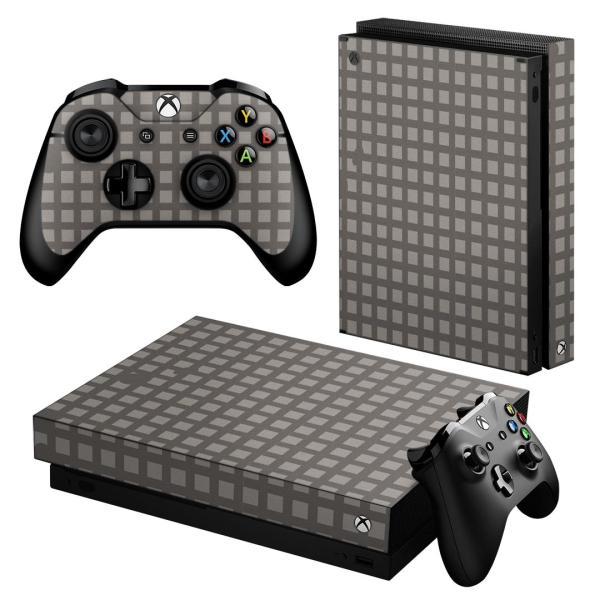 「宅配便専用」igsticker Xbox One X 専用 デザインスキンシール エックスボックス ワン ステッカー 保護  格子柄 模様 グレー 003938