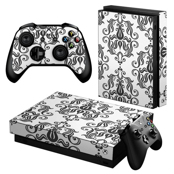 「宅配便専用」igsticker Xbox One X 専用 デザインスキンシール エックスボックス ワン ステッカー 保護  模様 エレガント 白 004092