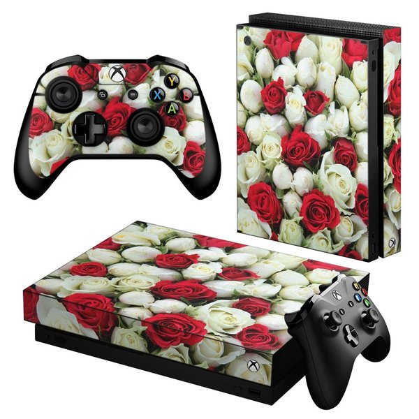 「宅配便専用」igsticker Xbox One X 専用 デザインスキンシール エックスボックス ワン ステッカー 保護  赤 白 フラワー 花 005352