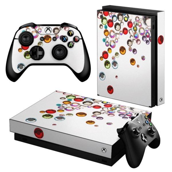「宅配便専用」igsticker Xbox One X 専用 デザインスキンシール エックスボックス ワン ステッカー 保護  カラフル 宝石 白 005377