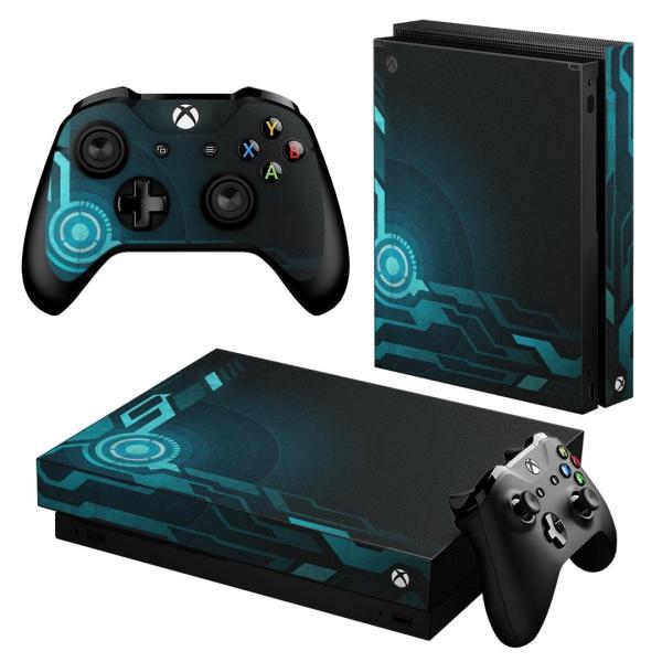 「宅配便専用」igsticker Xbox One X 専用 デザインスキンシール エックスボックス ワン ステッカー 保護  青 ブルー 006522