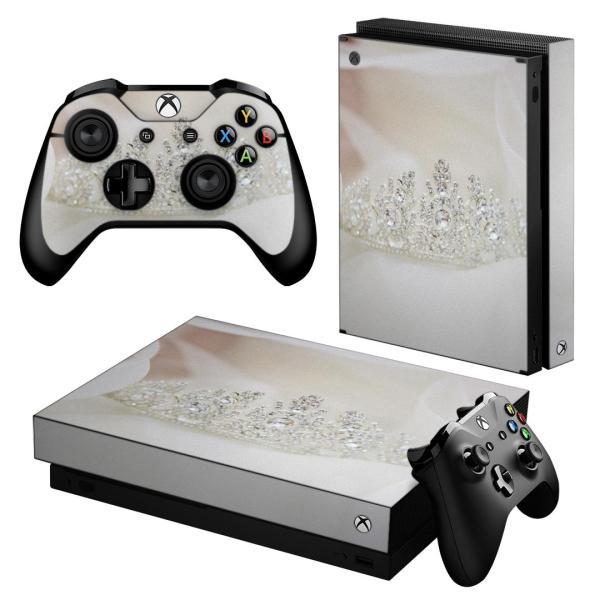 「宅配便専用」igsticker Xbox One X 専用 デザインスキンシール エックスボックス ワン ステッカー 保護  写真 ティアラ ダイヤ 白 ホワイト 008863