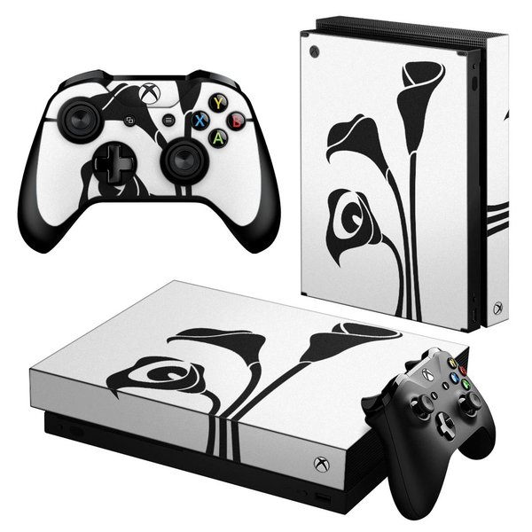 「宅配便専用」igsticker Xbox One X 専用 デザインスキンシール エックスボックス ワン ステッカー 保護  モノクロ フラワー 白 黒 009225