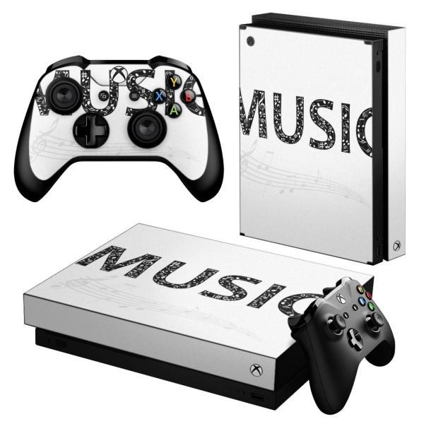 「宅配便専用」igsticker Xbox One X 専用 デザインスキンシール エックスボックス ワン ステッカー 保護  音楽 音符 英語 白 黒 010020